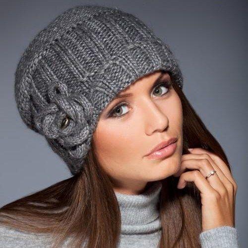 Вязаные шапки со схемами спицами женские
