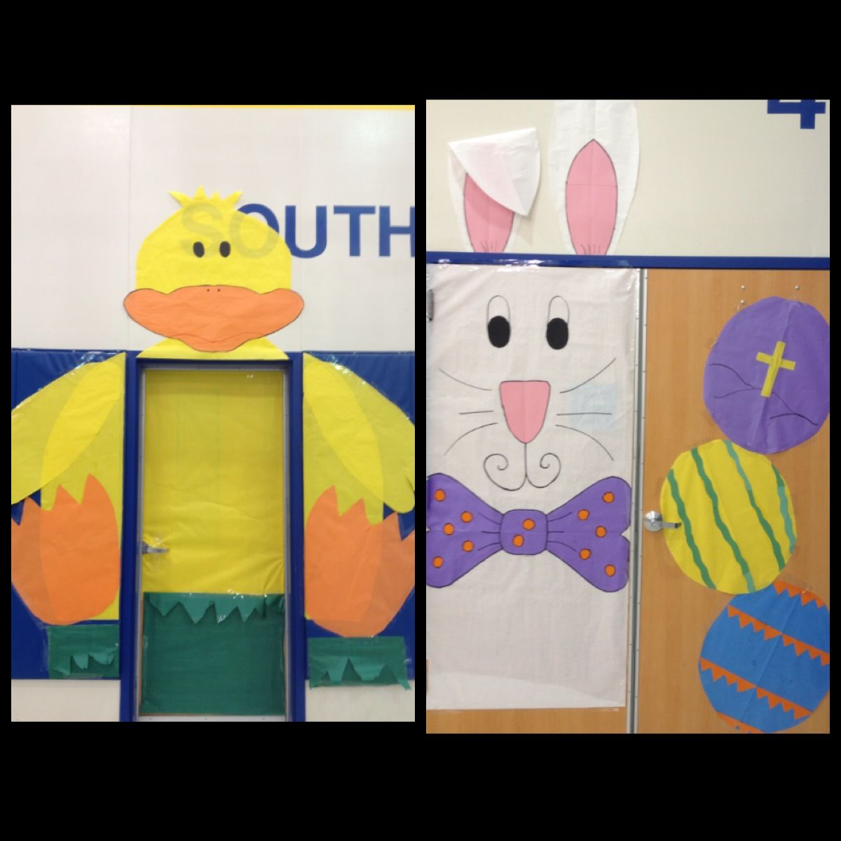 Cartoon classroom door - Easter Door Decoration