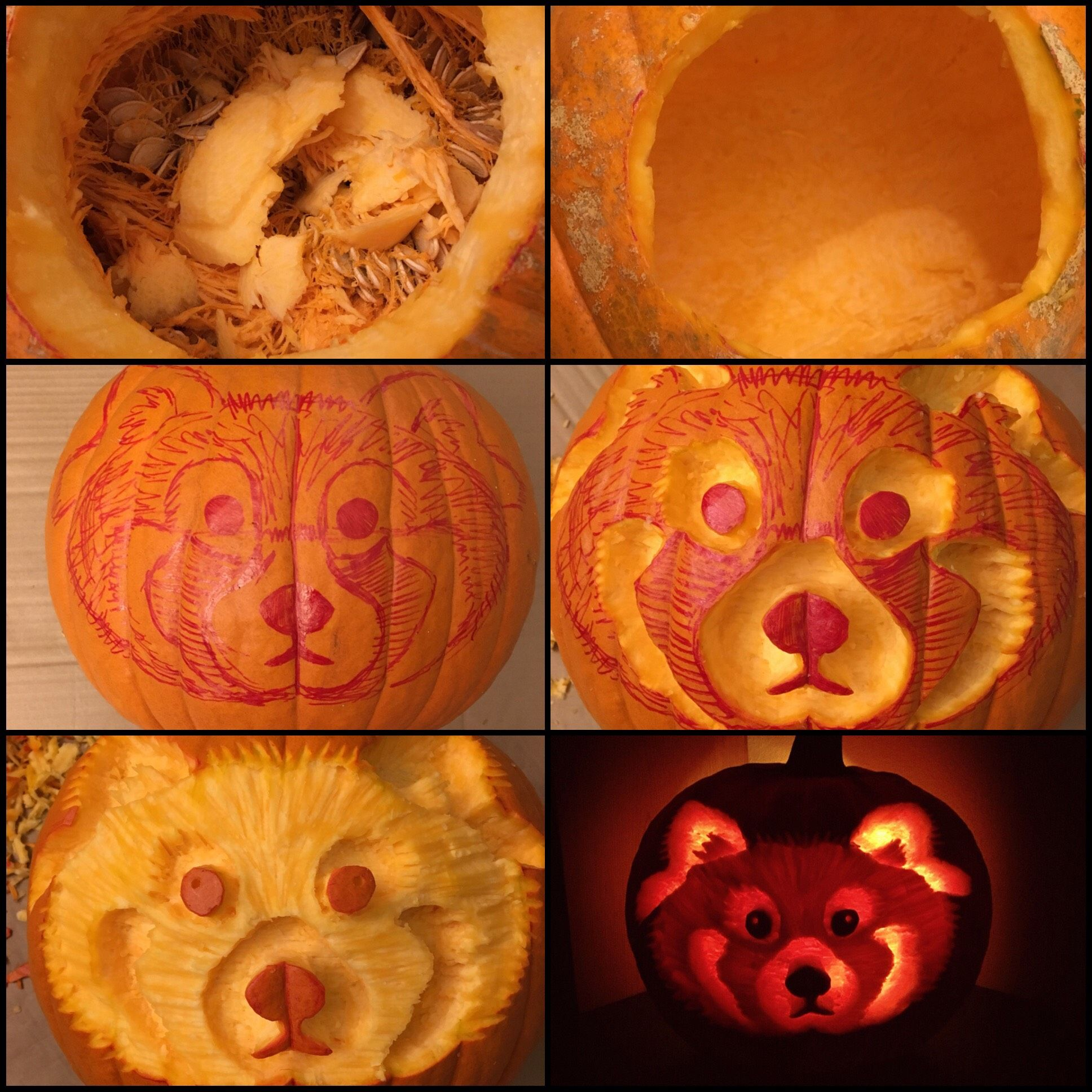 Celebrate halloween with this great red panda pumpkin for Pumpkin sculpting tutorial