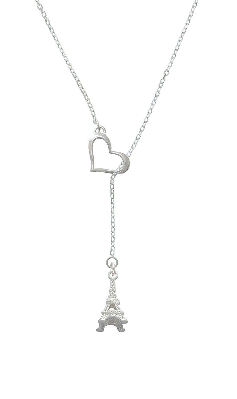 18+2 Silvertone 3-D Eiffel Tower Heart Lariat Necklace