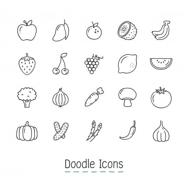 果物や野菜のアイコンを落書き 無料ベクター イラスト 手書き風