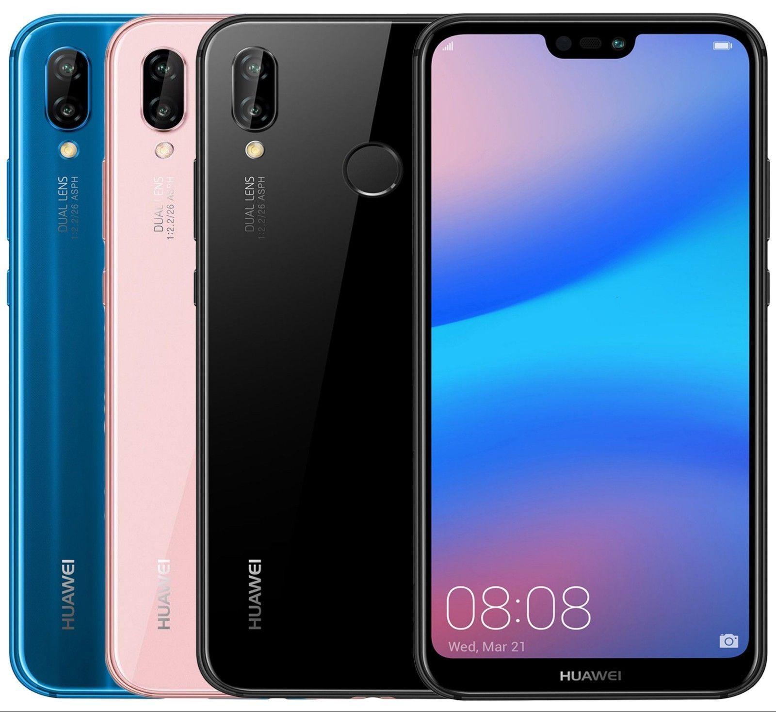 Huawei P20 Lite Ane Lx3 Dual Sim Factory Unlocked 5 8 4gb Ram Black Blue Pink Dual Sim Huawei Unlock