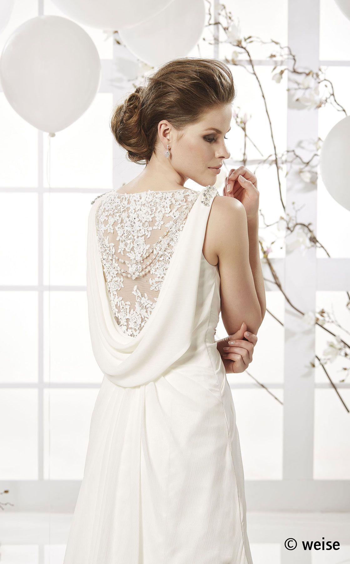 Brautkleid zur Hochzeit aus Chiffon & Spitze, mit Schleppe | von ...