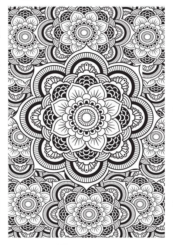 Mandala Pattern Diy Print At Home Digital Download Colouring Page