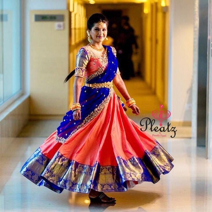 Beautiful Classy And Traditional Hair And Makeup On Point By Makeupbyvejetha In 2020 Half Saree Designs Half Saree Lehenga Half Saree Function