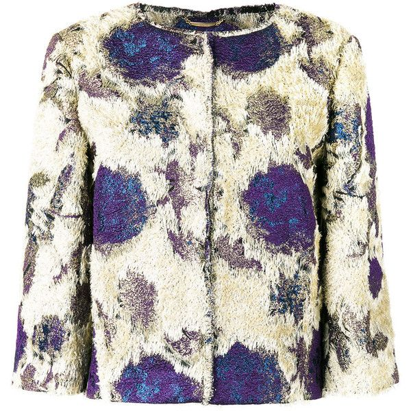 Alberta Ferretti roses print collarless jacket (€1.305) ❤ liked on Polyvore featuring outerwear, jackets, grey, multi-color leather jackets, colorful jackets, alberta ferretti jacket, grey jacket and alberta ferretti