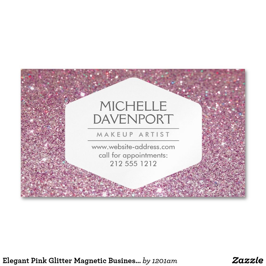 Elegant Pink Glitter Magnetic Business Card Coordinates With The ELEGANT WHITE EMBLEM ON PINK GLITTER BACKGROUND