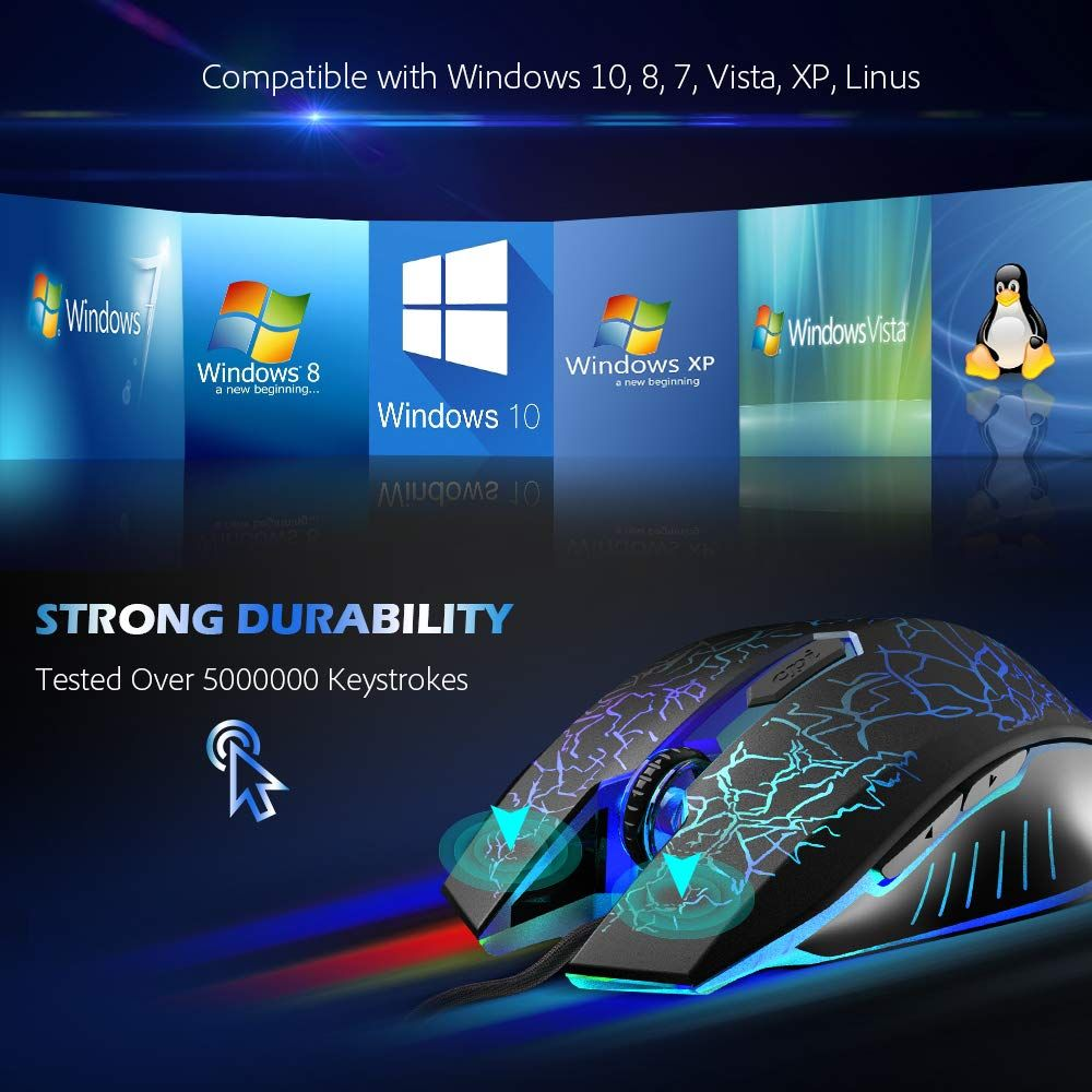2400 DPI Ergonomic Optical Wired Gaming Mouse 8 Programmable Buttons RGB Backlit