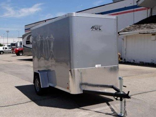 5 X 10 Enclosed Cargo Trailer By Atc Silver Frost Rear Ramp Door Stone Guard Roof Vent 6 Additional Height And Custom Trailers Cargo Trailers Trailer