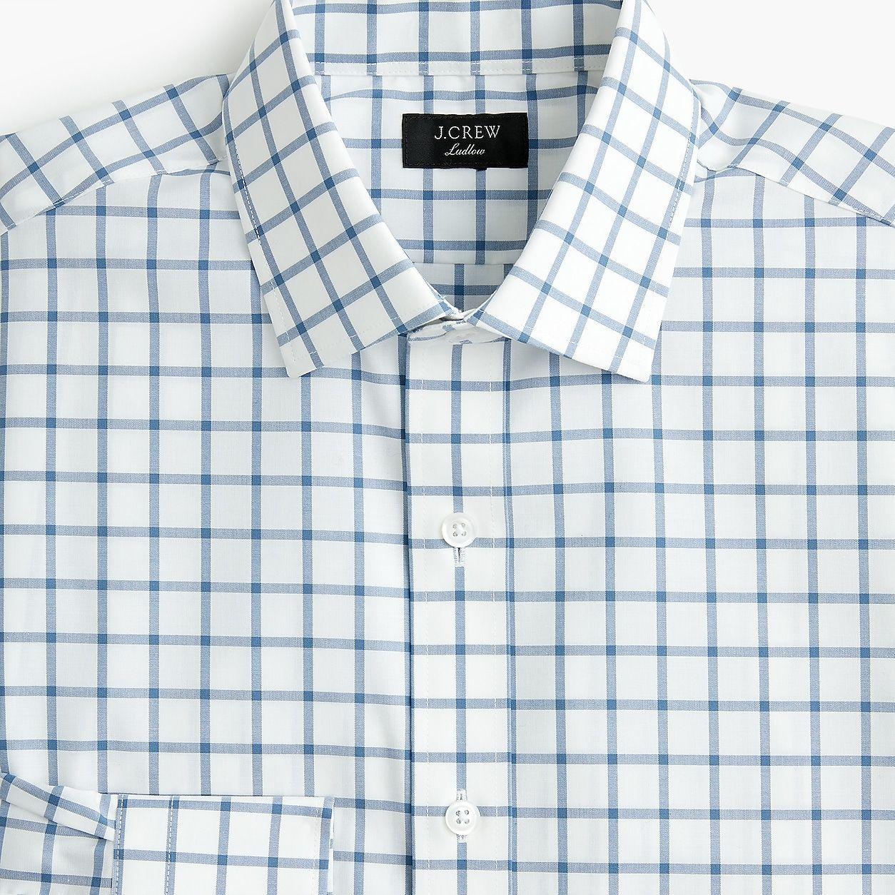 bacae0262f570 Ludlow Stretch Two-Ply Easy-Care Cotton Dress Shirt In Mini Windowpane