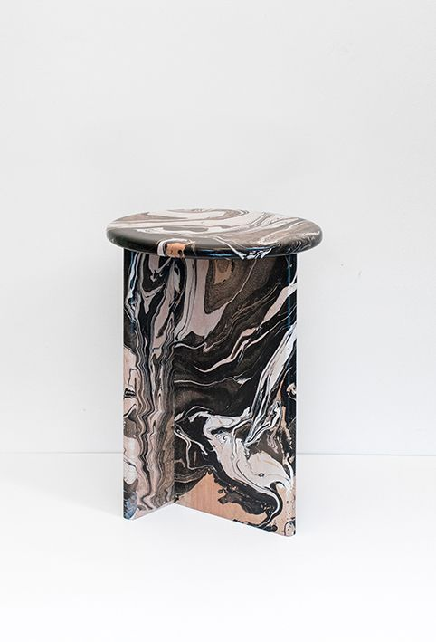 """""""Due to a random process of painting, simple pieces of beech wood become unique. They are assembled to form stools that mix elementary shapes with some surprising patterns and colours"""" - GLAM ADORE - (Écume stools handmade and distributed by Ferréol Babin. Materials: Beech wood, enamel paint, clear lacquer)"""