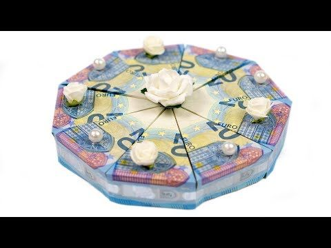 Geld falten Torte: Hochzeitsgeschenk selber basteln, DIY Anleitung