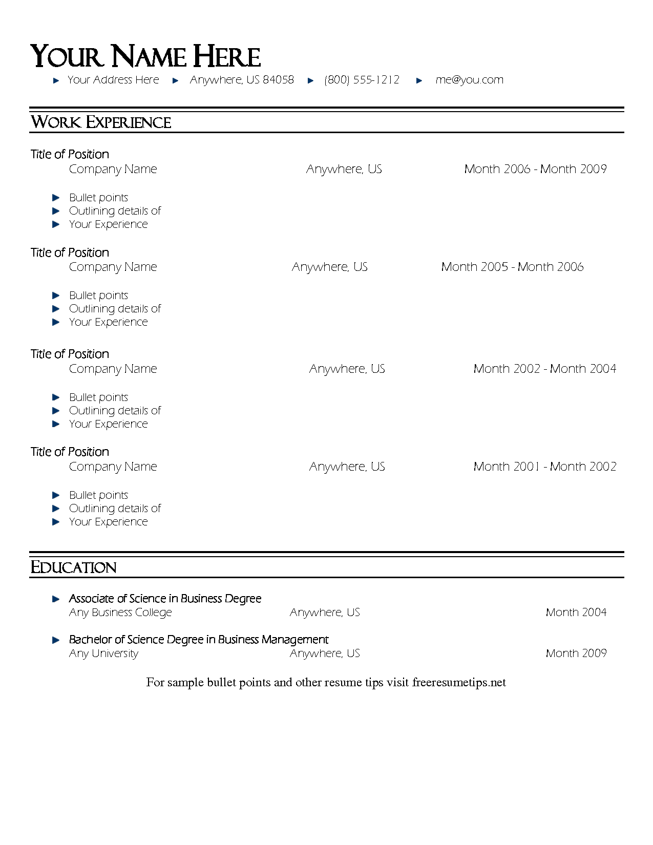 bullet point resume template resume template 1 resumes