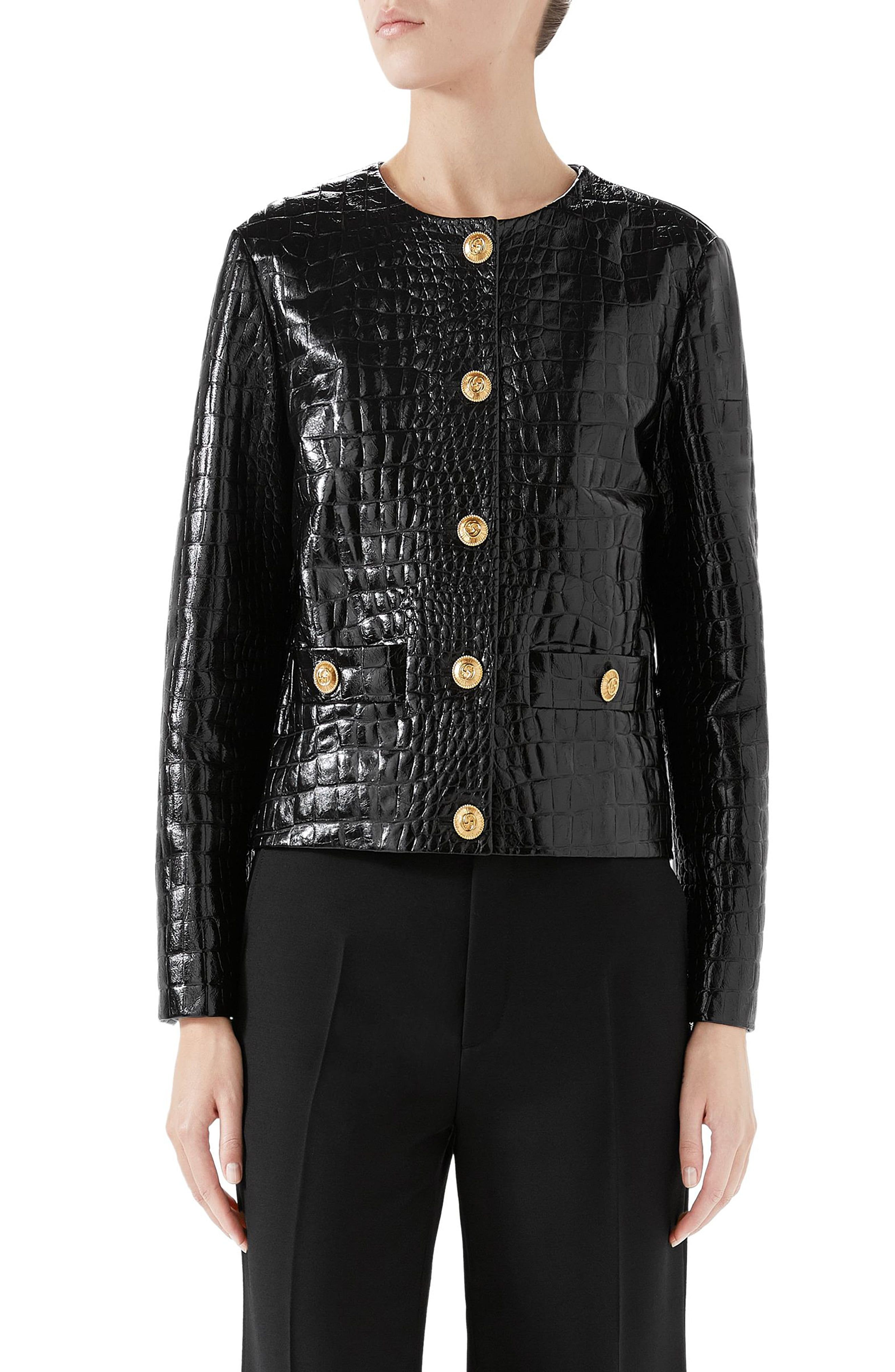 Women's Gucci Croc Embossed Leather Jacket, Size 8 US / 44