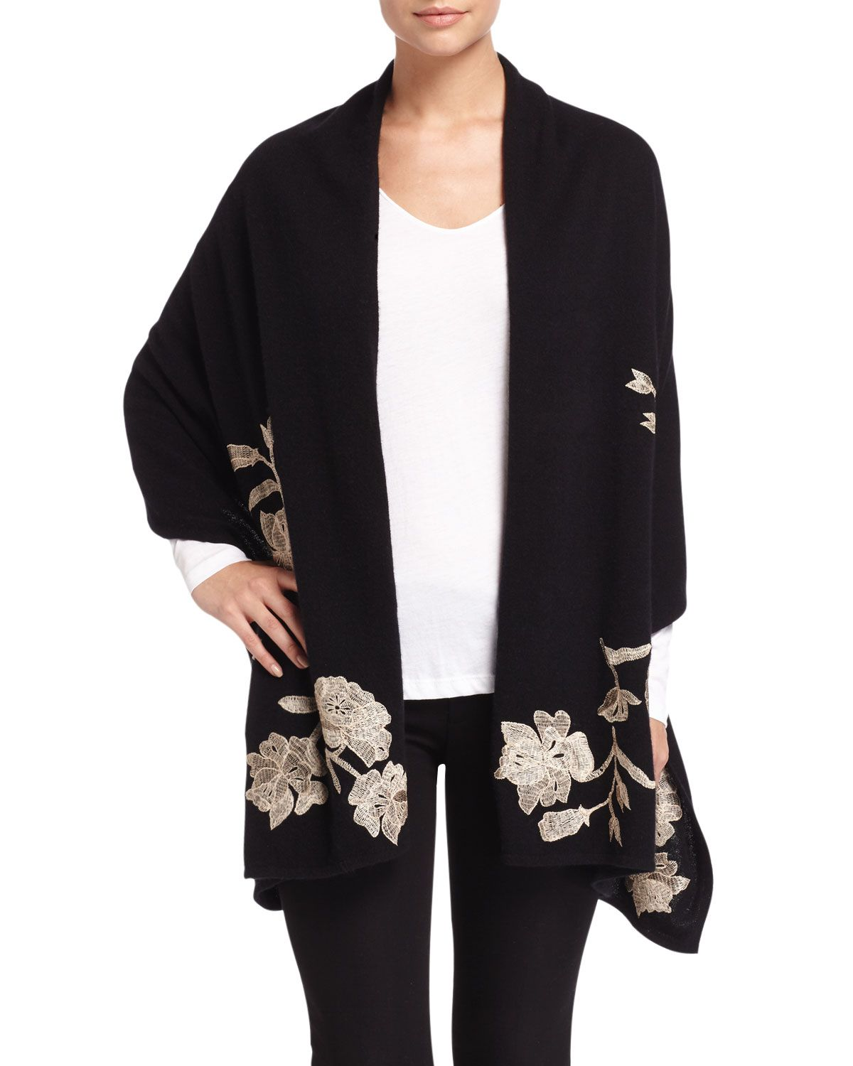 Cashmere Floral-Embroidered Shawl, Gray - Josie Natori for Neiman Marcus Cashmere