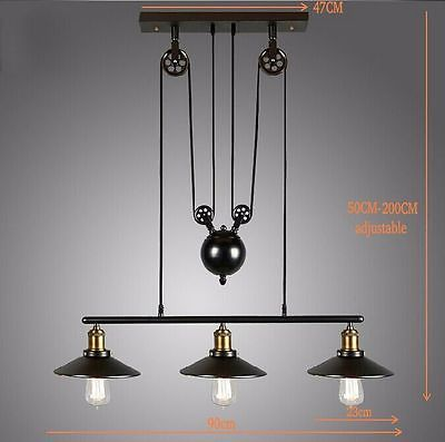 Vintage Loft Industrial Pulley Pendant Light Adjustable Wire