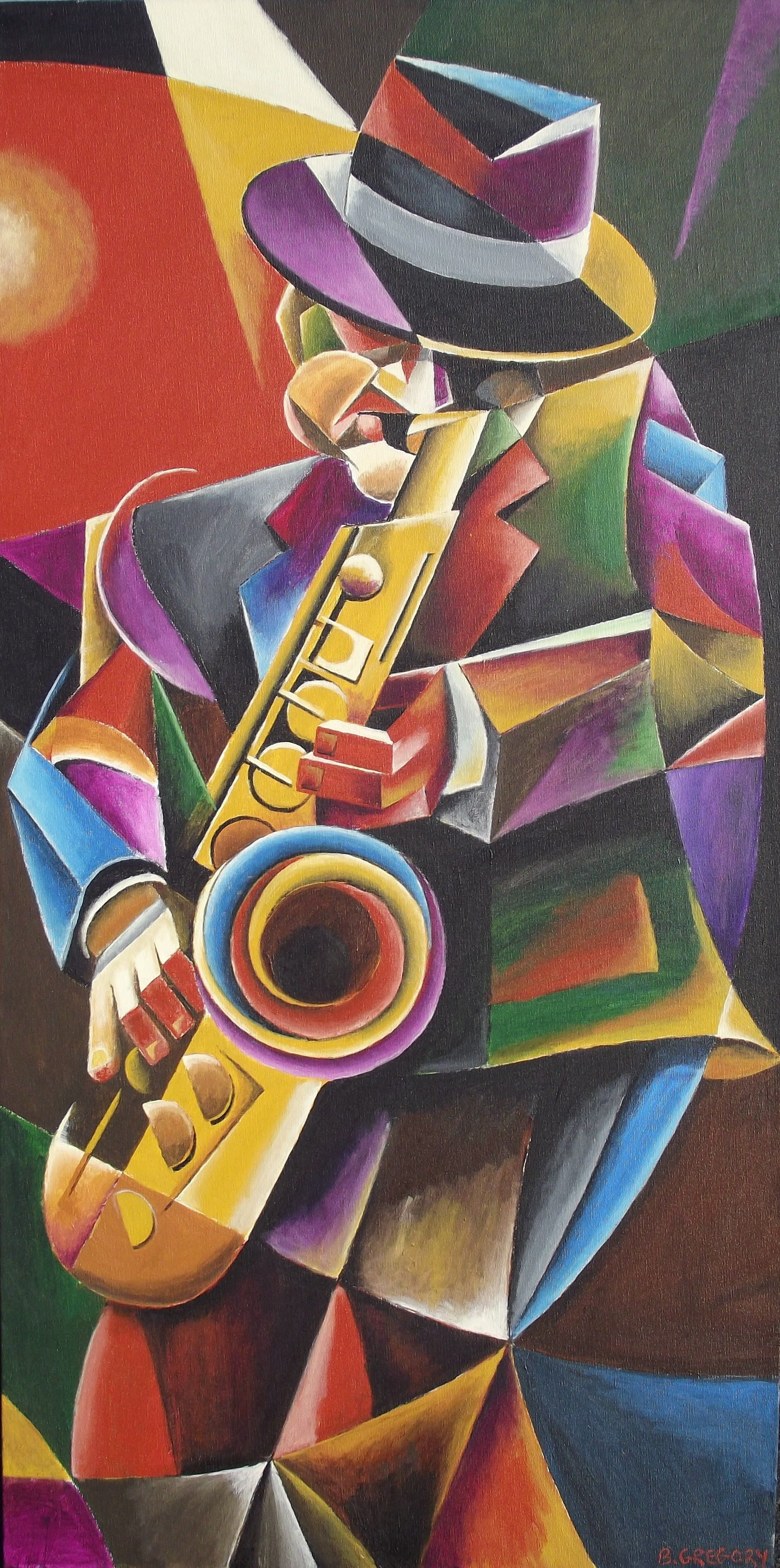 Jazz Sax Cubist Painting By Bob Gregory Www Artfxdesignstudios Com Cubist Art Jazz Sax Music Bob Gregory Saxophone Art Musical Art Jazz Art