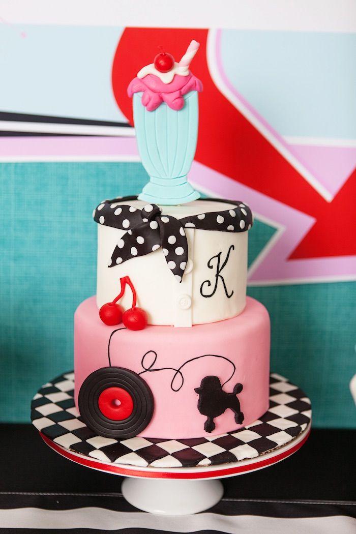 3 Tier Cake From Retro Soda Shoppe Birthday Party Karas Ideas Visit
