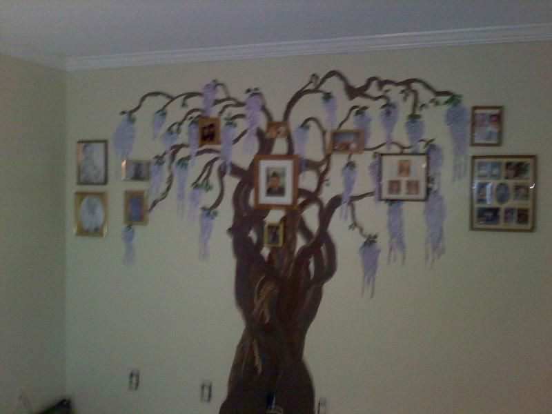 Wall two in family room with family pictures