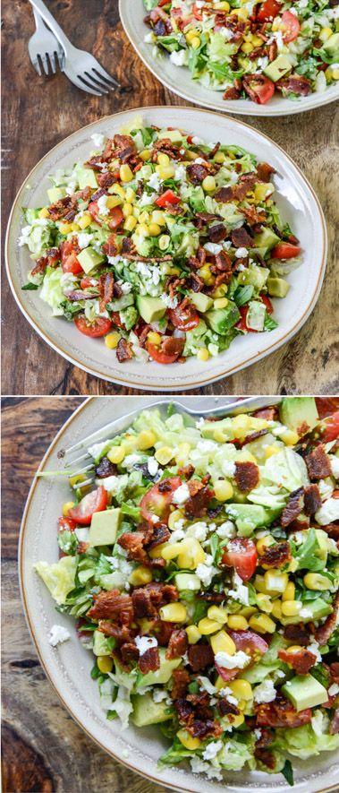 BLT Chopped Salad with Avocado, Feta and Sweet Corn I howsweeteats.com
