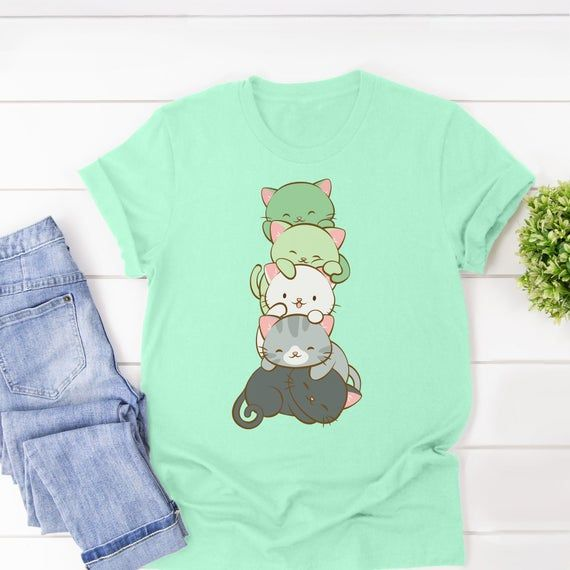 Cute Cats Kawaii Clothing Aromantic Pride T Shirt / Harajuku Aesthetic Clothing - Aro Ace Cat Dad an