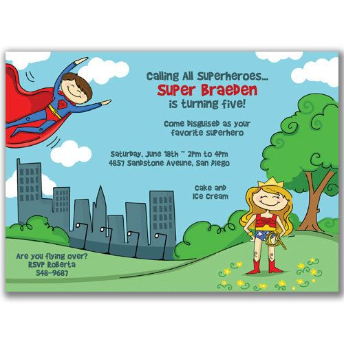 15 Superman Saves Wonder Woman Invitations For Kids -7591