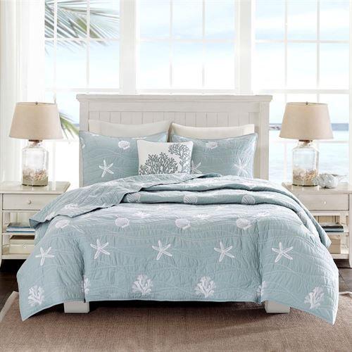 Seaside 4 Pc Coastal Coverlet Bed Set Coastal Bedrooms Beach House Interior Nautical Bedding Sets