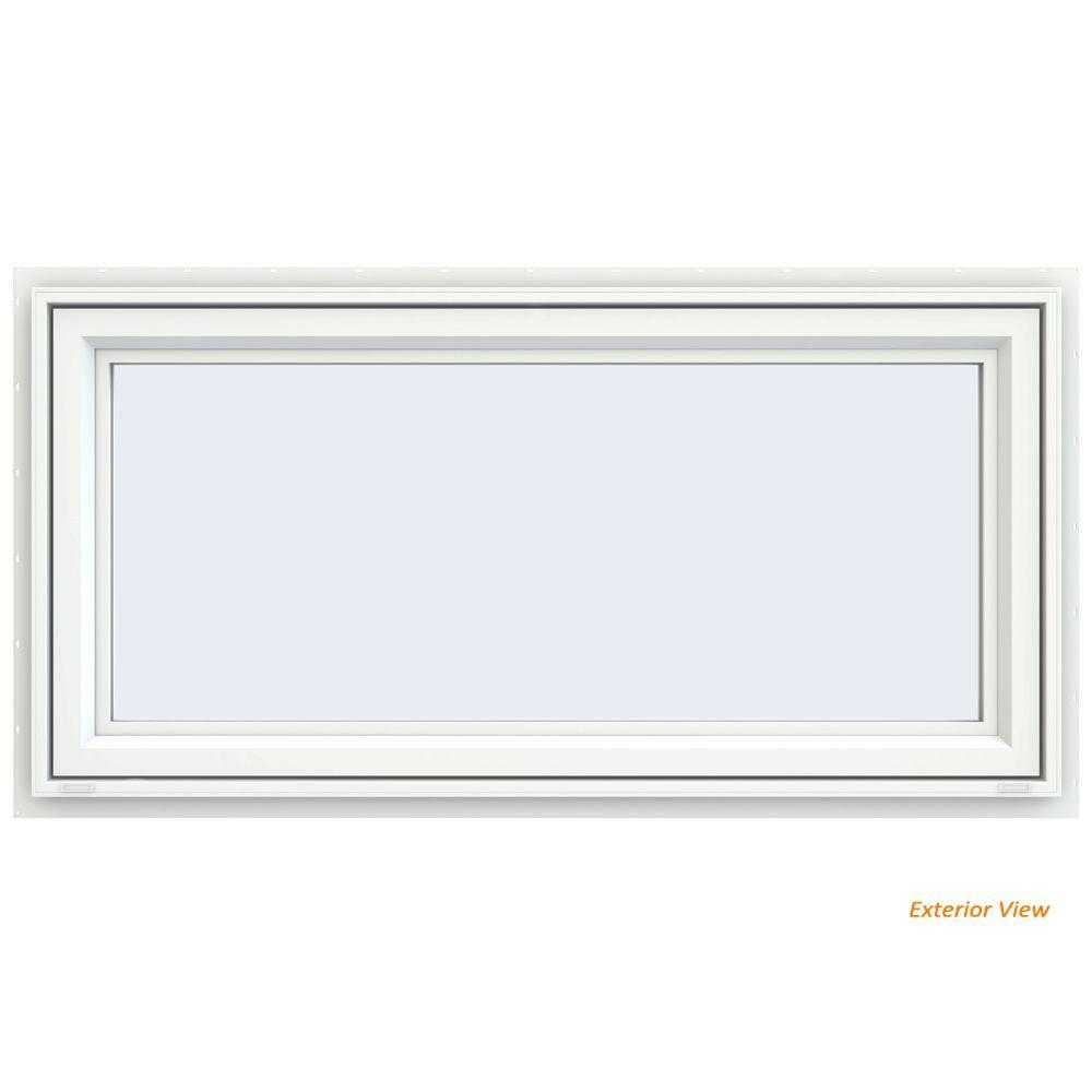 Jeld Wen 29 5 In X 29 5 In V 4500 Series White Vinyl Awning Window With Fiberglass Mesh Screen Window Awnings Mesh Screen White Vinyl
