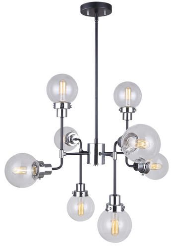 Patriot lighting atom 8 light black and chrome chandelier