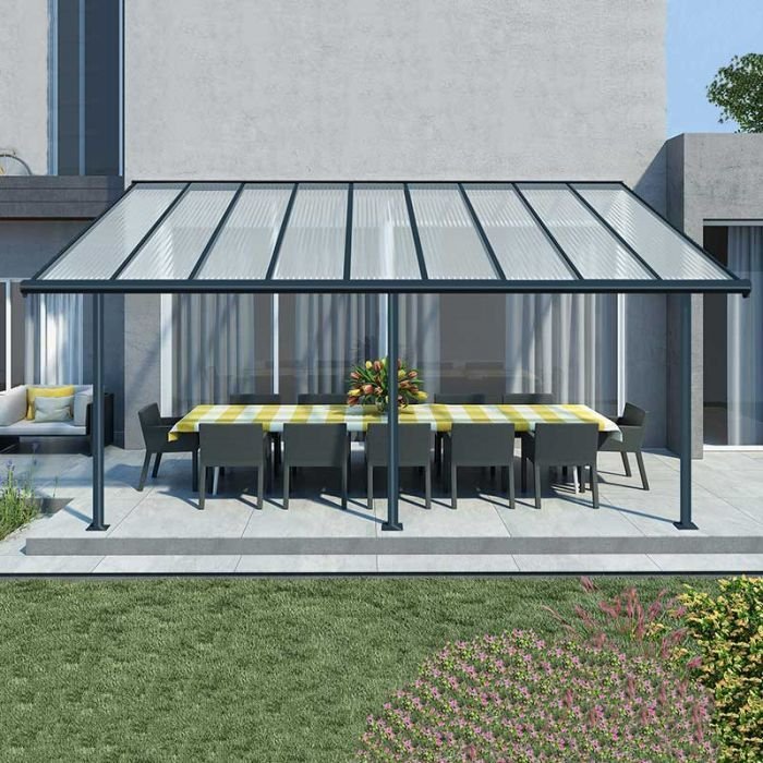10 X20 3x6 1m Palram Sierra Grey Patio Cover In 2020 Aluminum Patio Covers Gray Patio Furniture Pergola With Roof