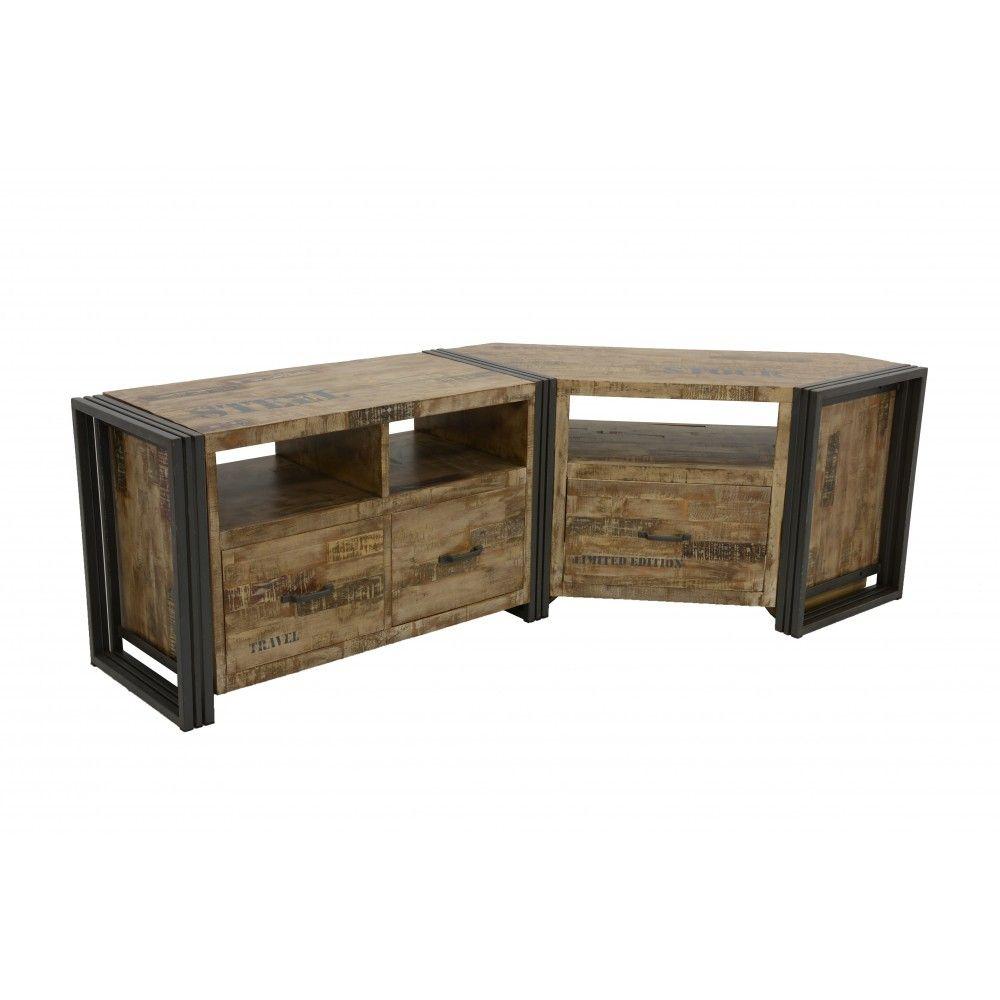 Meuble TV d\'angle bois recyclé blanchi et métal noirci 1 ...