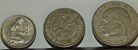 Germany Lot of 3 1950s Coins 1) 1958 2 Deutsche Mark Max