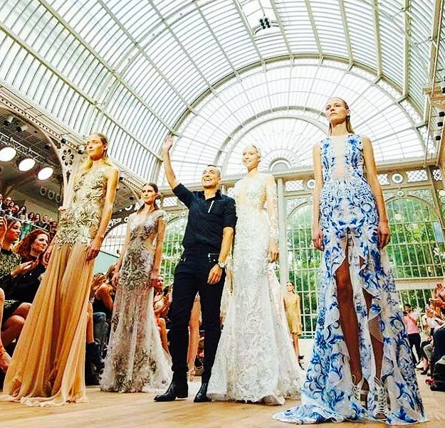 Finale at Julien Macdonald show, London Fashion Week