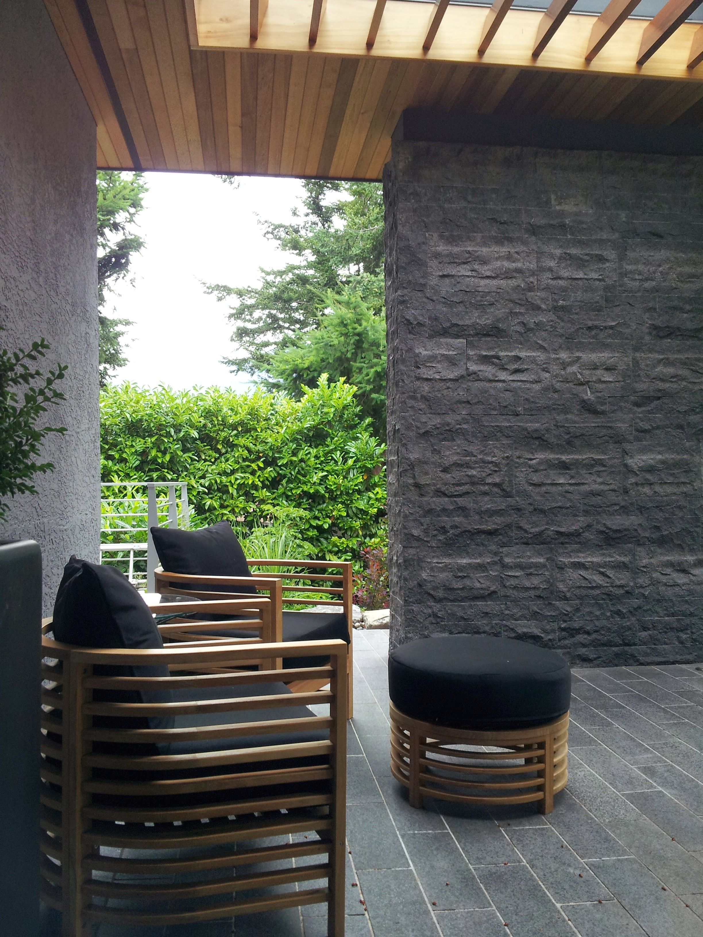 Black Basalt Stone Wall : West van residence front yard and house renovation