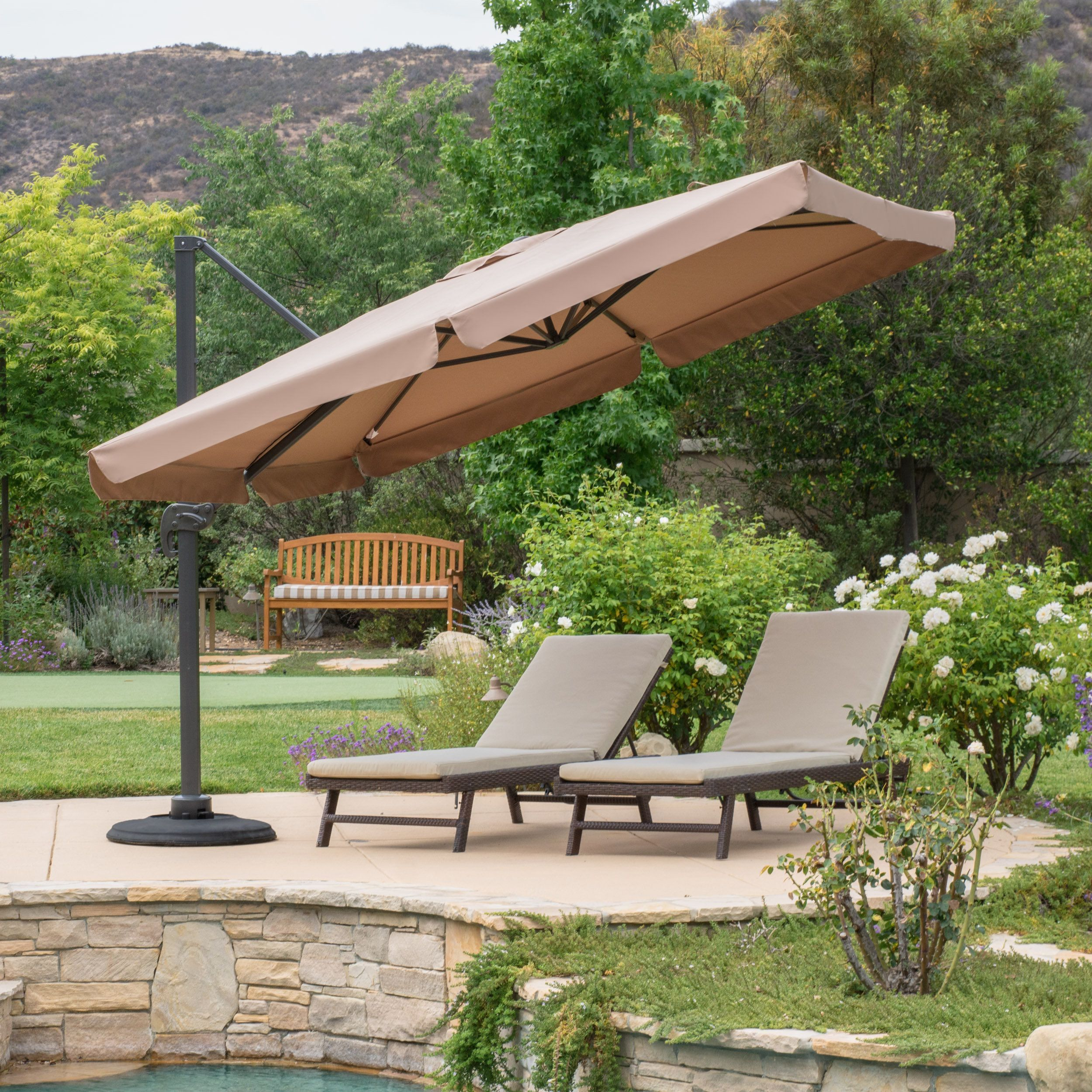 Outdoor Yuma Folding Canopy Umbrella with Base by Christopher