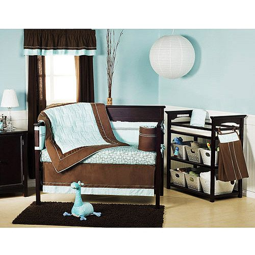 Brown Blue Baby Boy Nursery Colors Bed Decor Baby Bed