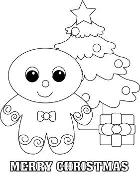 Gingerbread christmas tree coloring page arts crafts for Gingerbread man coloring pages free