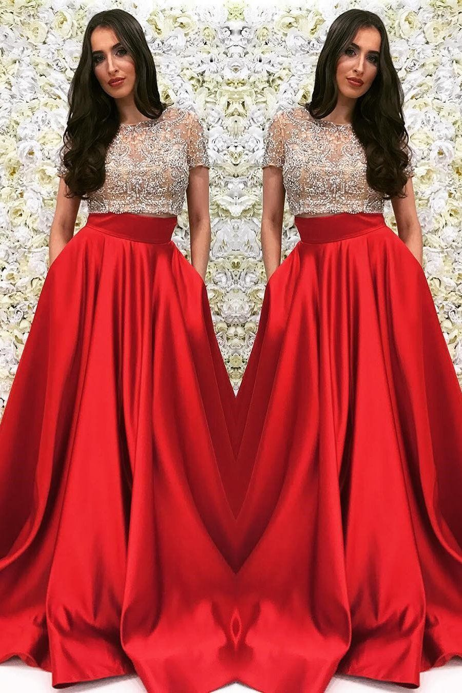 Two piece prom dresses scoop a line sexy long red prom dress m