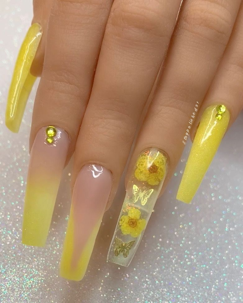 Staypolished91 Instagram In 2020 Yellow Nails Design Pink Gel Nails Encapsulated Nails