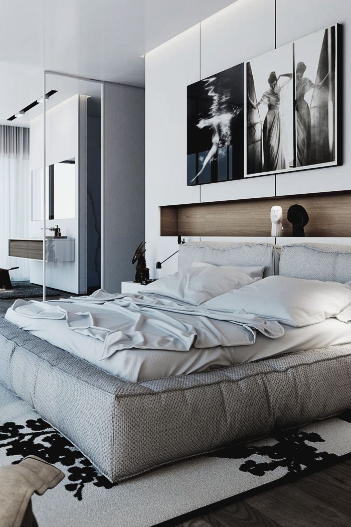 Moderne Schwarz Schlafzimmer Ein Schrank im Schlafzimmer schafft