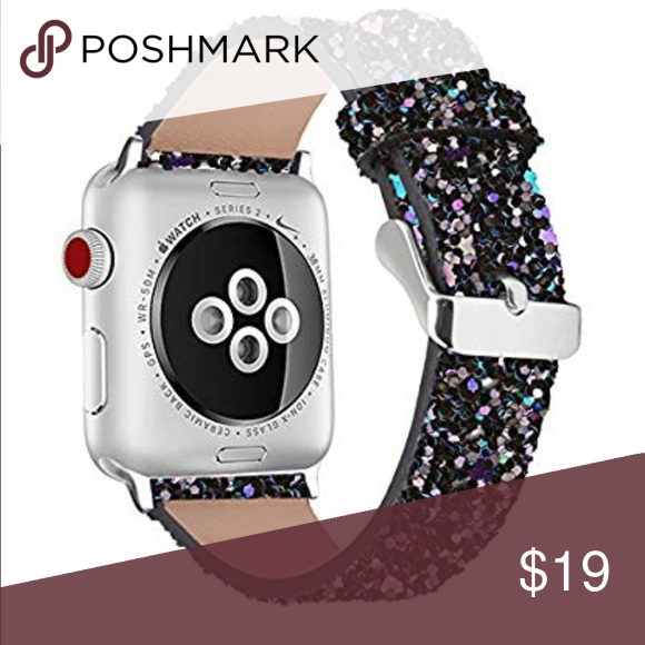 Black Glitter Le Watch Band 38 Or
