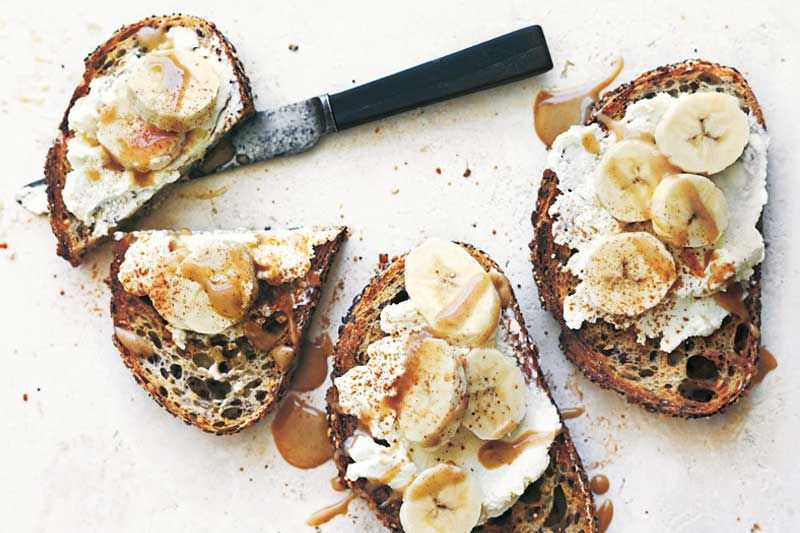 Ricotta and Banana Toasts with Cinnamon Tahini | Banana ...