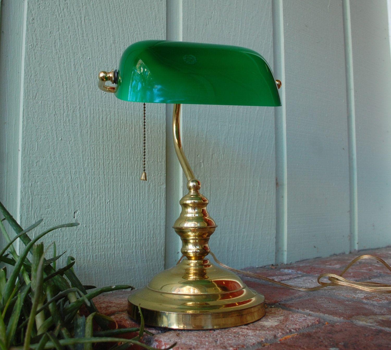 Vtg Emerald Green Gold Portable Desk Lamp Felt Bottom UL