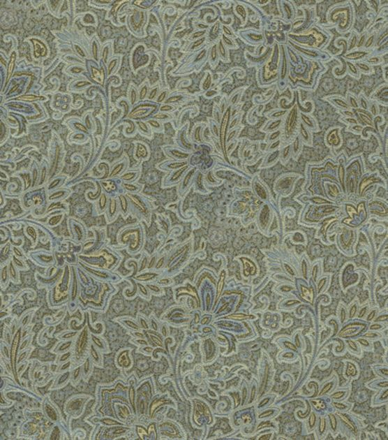 Upholstery Fabric-Waverly Parlour Paisley/Blue Jay