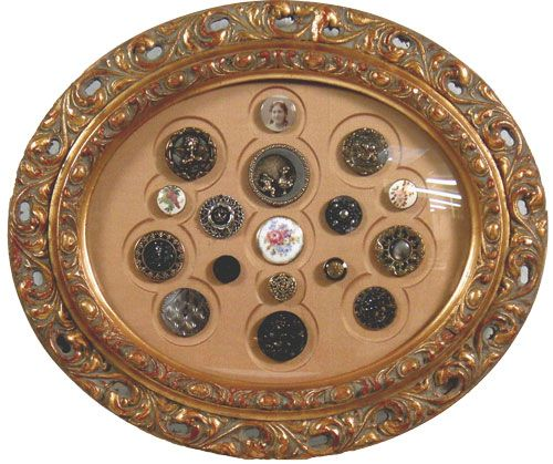 Unique Collection Of Handmade Buttons Oval Frame With Convex Glass