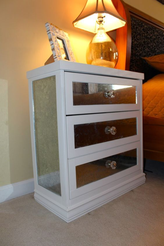 ikea mirrored furniture upcycle antsipants diy mirrored nightstand ikea rast hack for the home