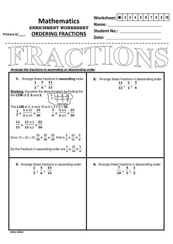 Ordering Fractions Using The Lcm Method Ks2 Kindergarten Worksheets Fractions Worksheets Math Fractions Worksheets
