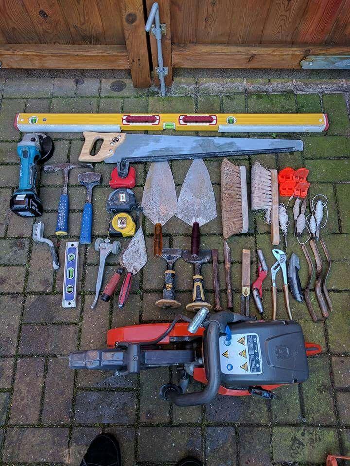 Contents Of Bricklayers Tool Bucket Masonry Tools Construction Tools Brick Design