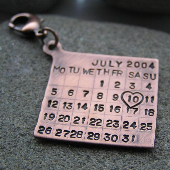 Year Calendar Keyring : Personalised key ring date tag pt solid copper