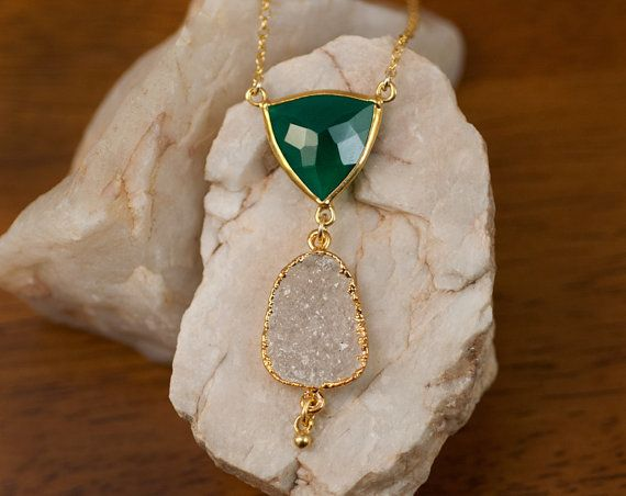 Green Onyx Necklace - Druzy Necklace -  Statement Necklace - Bridal Necklace - Gold Necklace - Drop Necklace
